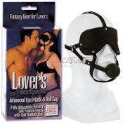Плотная маска на глаза с кляпом в едином ансамбле LOVER\'S HEADGEAR с фиксацией на голове черного цвета