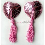 Пэстисы  с пайетками розового цвета с длинными кисточками
